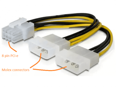 8pin PCIE Cable to 2x Molex PC Power Cable