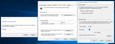 windows system protection create a restore point