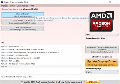 ddu uninstall amd radeon drivers restart